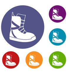 boot for snowboarding icons set vector image