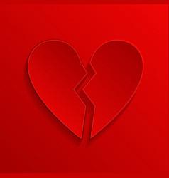 Broken heart red 3d symbol vector