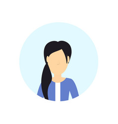 brunette woman avatar isolated faceless female vector image