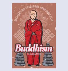 buddhism religion stones monk and lotus vector image