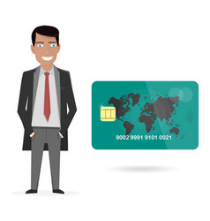 businessman and credit card vector image