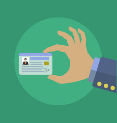 businessman holding his id card concept vector image