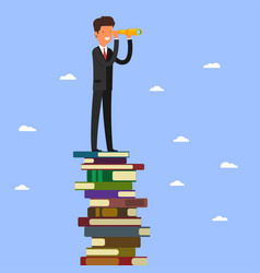 businessman stands on stack of books vector image