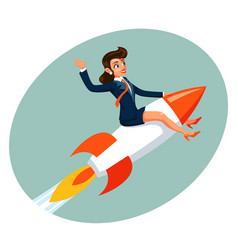 Businesswoman space rocket ship female business vector