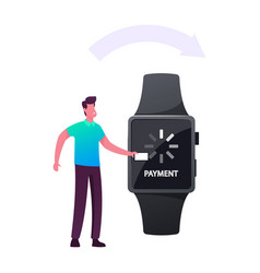 Cashless payment transaction man customer use vector