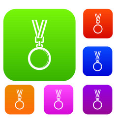 cat medal set color collection vector image