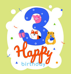 children 3rd birthday greeting card vector image