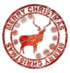 Christmas Deer stamp template vector image