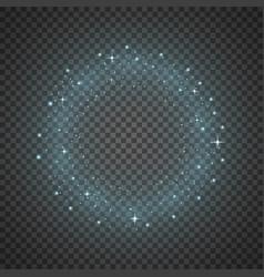 Circle of glitter particles aqua color vector