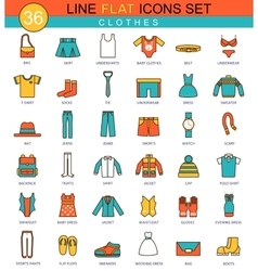 Clothes flat line icon set Modern elegant vector image
