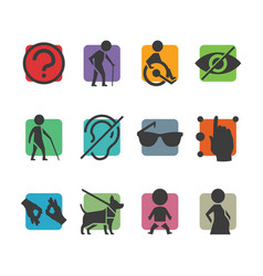 Colorful icon set access signs for physically vector
