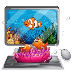 Computer screen with clownfish swimming vector image