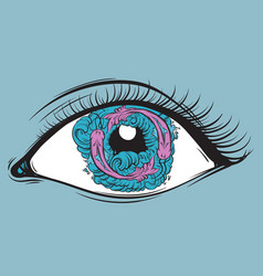 Creative eyes with fish and waves in pupil vector