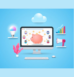 crowdfunding platform concept in 3d style vector image