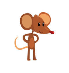 Cute brown mouse standing on two legs with hands vector