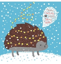 Cute hedgehog Greeting card vector image