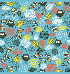 Cute seamless pattern with funny doodle owls vector