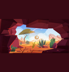 Desert cave entrance hole in rock with cacti vector