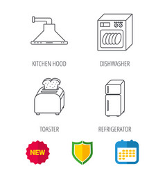 dishwasher refrigerator and toaster icons vector image