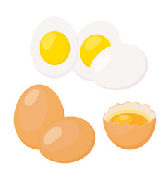 eggs in flat styleeggshell with yolk boiled eggs vector image