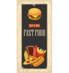 Fast food poster with vintage background Set icon vector image