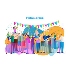 festival crowd mass group vector image