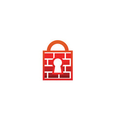 firewall padlock with keyhole logo design template vector image