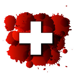 First aid cross on red blood splatter vector