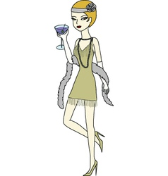 Flapper girl drinking martini vector image
