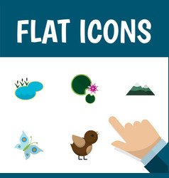 flat icon natural set of bird lotus pond and vector image
