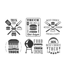 food truck retro logo templates set fresh and vector image