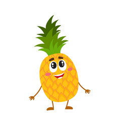 funny pineapple character standing and looking up vector image