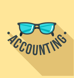 glass accounting logo flat style vector image