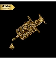 Gold glitter icon of syringe isolated on vector image