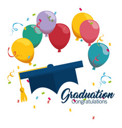 Graduation hat celebration icon vector