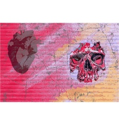 graffiti skull and heart vector image