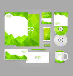 Green corporate identity template with polygons vector