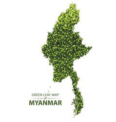 Green leaf map myanmar vector
