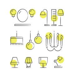 hand drawn lighting line icons vector image