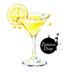 hand drawn sketch watercolor cocktail lemons drop vector image