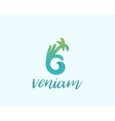Hand palm Ok logo symbol icon Ocean wave vector image