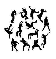 happy break dance silhouettes vector image