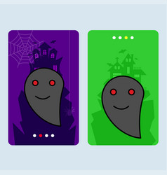 happy halloween invitation design with ghost vector image