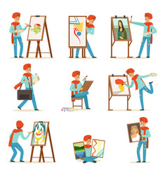 happy smiling artist painting on canvas set vector image vector image