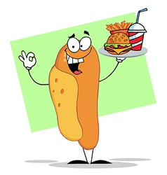 Hot Dog Holding Fast Food Fast Food On A Tray vector image