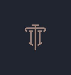 Ii initial logo monogram with pillar icon design vector