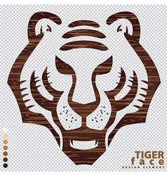 Isolate the face of Tiger on wood texture vector