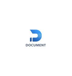Letter d 3d blue colou creative technological logo vector