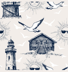 Lighthouse cabin and sunny holiday and vacation vector