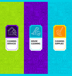 line cleaning package labels vector image